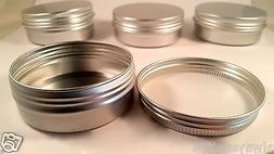 10*Empty Cosmetic Pot Tin Silver Container 2oz Screw lid Jar