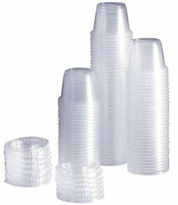 100 Sets 1 oz. Plastic Disposable Portion Cups With Lids, So