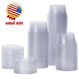 Plastic Disposable Portion Cups With Lids, Souffle Cups