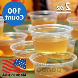 100 ct 2 oz Large Jello Jelly Shot Portion Cups with Lids Op