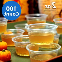 100ct 2 oz Large Jello Jelly Shot Portion Cups with Lids Opt