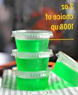 100ct 2oz Large Jello Jelly Shot Portion Cups with Lids Opti