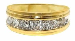 10K Yellow Gold Mens Gold Genuine 9 MM Diamond Wedding Band