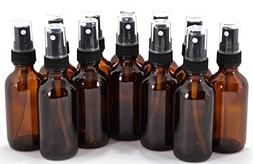 12, Amber, 2 oz Glass Bottles, with Black Fine Mist Sprayers