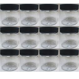 12 PET Plastic 2 Oz Empty Clear Containers Cosmetic Jar Cap