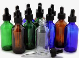 12 Pack  Assorted Colors, 2 oz Glass Bottles, With Glass Eye