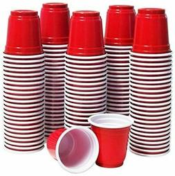 120 Shot Glasses 2oz Red Plastic Disposable Mini Party Cups