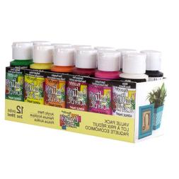 DecoArt 2-oz 12-Color Acrylic Crafting Paint Set Multipurpos