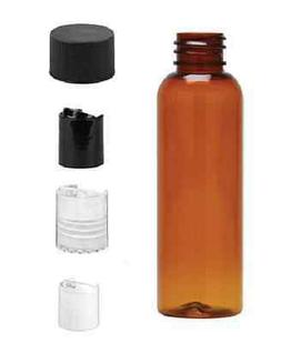 2 oz Amber Bullet Plastic Bottle -PET- 12 bottles and black