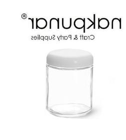 Nakpunar 2 oz Straight Sided Glass Jars with white plastic d