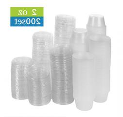200 Pack of 2-Ounce Disposable Plastic Jello Shot Cups with
