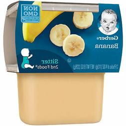 Gerber 2nd Foods Bananas, 4 Ounce Tubs, 2 Count