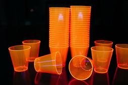 2oz 50 Count Neon Orange Blacklight Reactive Plastic Shot Gl