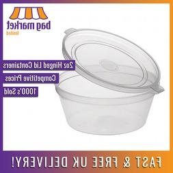 2oz Clear Hinged Lid Plastic Sauce Containers! | Cups/Pot/Tu