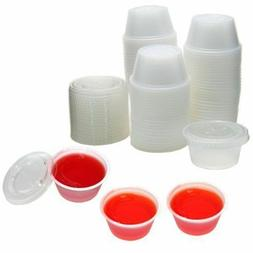 2oz Large Clear Jelly Shot Sample Souffle Portion Cups & Lid