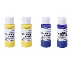 4 Pieces Darice Acrylic Paint Matte Violet and Yellow