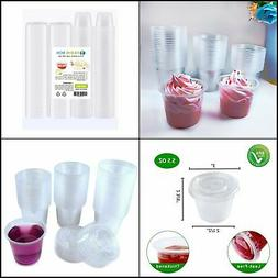 5.5 oz 200 Sets Disposable Plastic Jello Shot Cups with Lids