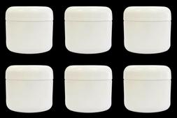 6 White Plastic Double Wall Jars 2oz  Containers with Domed