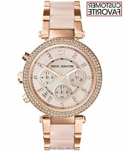 New Michael Kors Parker Rose Gold Blush MK5896 Watch for Wom