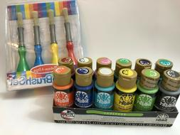 ART PAINT SET AND MELISSA & DOUG JUMBO BRUSHES,FOLK ART 12 C