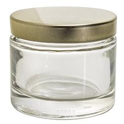 Clear Glass Heavy Wall Balm Jars with Gold Metal Foam Lined