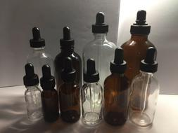Clear or Amber Boston Round Bottles w/ Glass Droppers 1/2oz,
