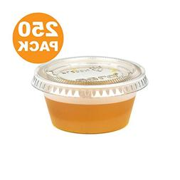 2 Ounce BPA-Free Plastic Portion Cup with Clear Lids Dispos