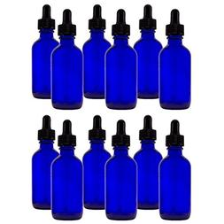 Cobalt Blue Glass Bottles with Droppers 2 Oz - 12 Per Packag