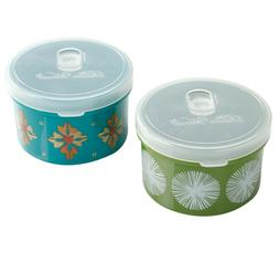 Pioneer Woman Containers 2 Green & Teal Geo Happiness 13 oz