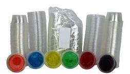 Disposable 2oz Plastic Condiment Cups with Lids, Souffle Por