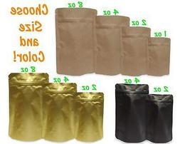 Gold, Black, Kraft Stand Up Ziplock Safe Pouch Bags, Mylar T