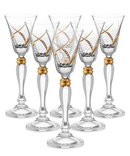 "Glazze Crystal RMC-078-GL Cordail Liquor Glasses, 7"" Height,"