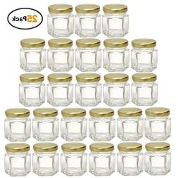 Woaiwo-q 1.5oz Hexagon Glass Jars 25 Pack