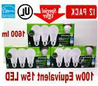 12 LED Light Bulbs GREENLITE 15W 1600 Lumens Bright White 30
