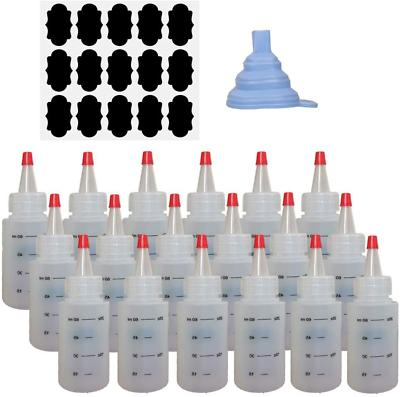 18 Pack 2 OZ Empty Plastic Squeeze Bottles with Red Tip Caps