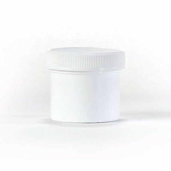2 oz Wide Mouth White Round Plastic Jars with Lids