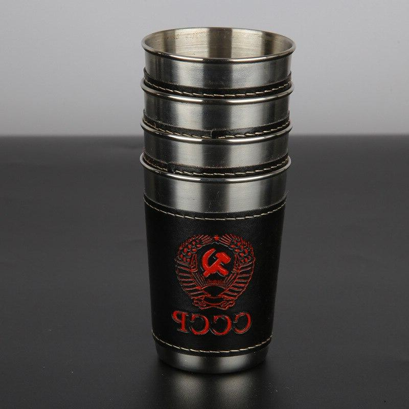 UPORS Hip Cup 1 6 <font><b>OZ</b></font> Steel Cups With Cover Outdoor Russia Whiskey Shot