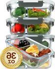 Glass Meal Prep Containers 2 Compartments Portion Control...