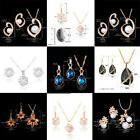 Cheap Cubic Zircon Crystal Necklace Earrings Jewelry Set For