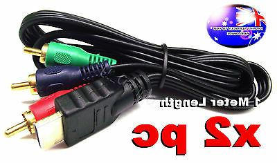 From OZ Quality 2PC 1M HDMI Male to 3 RCA Male Plug RGB Audi