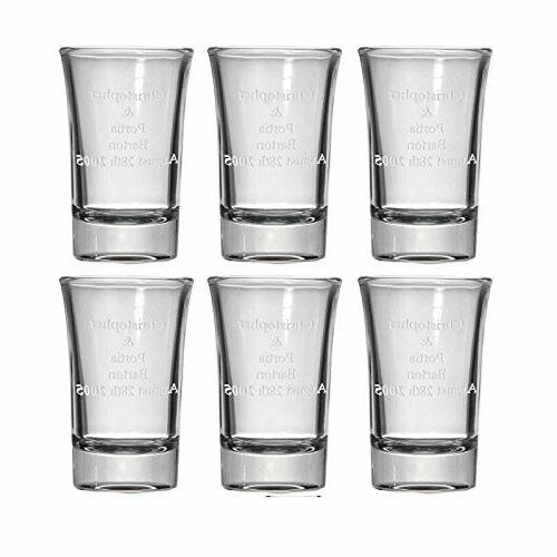 Personalized Set of 6 Shot Glasses  Free Engraving Groomsman