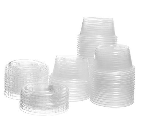 Plastic Portion Lids 2 Cup Salad Containers for Sauce Snack Souffle Free by