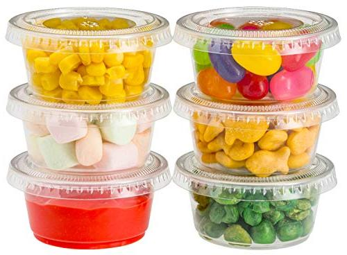Plastic Portion Cups Lids Cup Salad Dressing for Sauce Condiment Souffle Free - by
