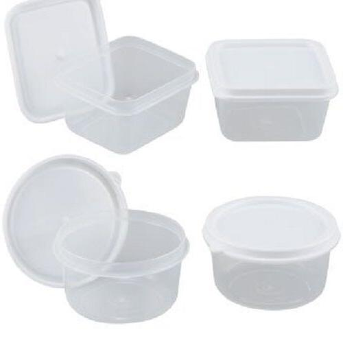 REUSABLE MINI CLEAR PLASTIC STORAGE CONTAINERS W/LIDS, 2.3 F