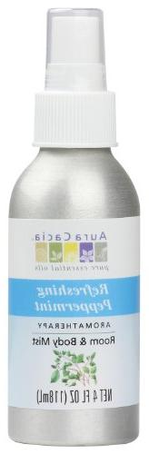 Aura Cacia Room and Body Mist, Refreshing Peppermint, 4 Flui