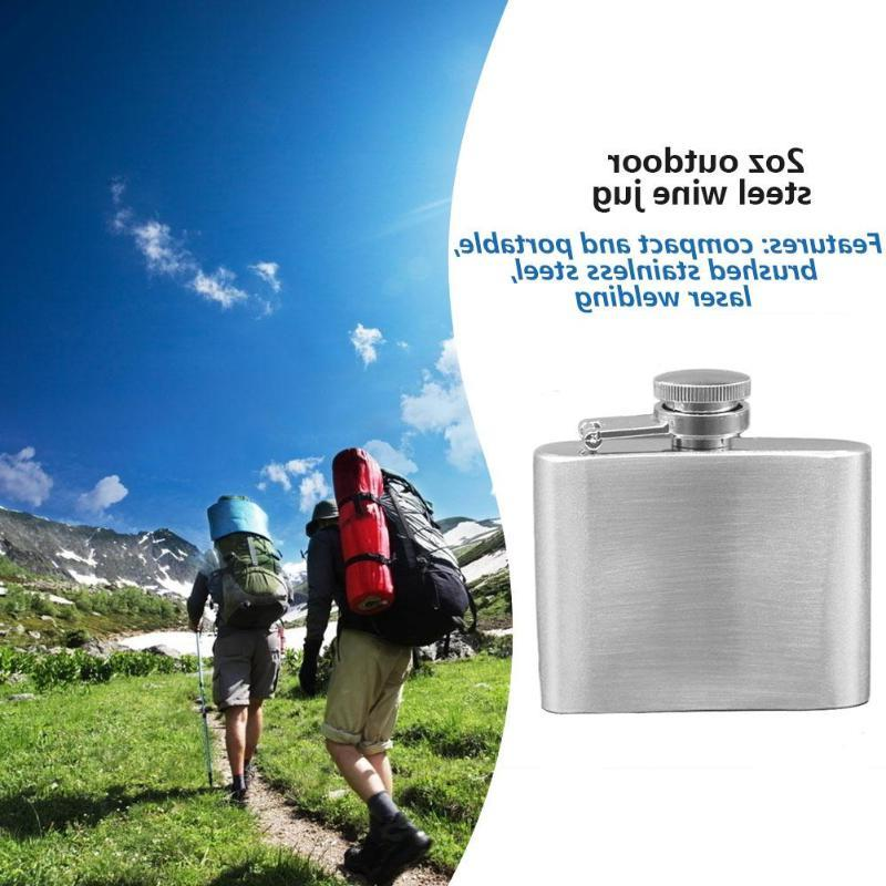 Stainless <font><b>OZ</b></font> Hip Flask Portable Wine Alcohol Pot Silver for Travel Outdoor