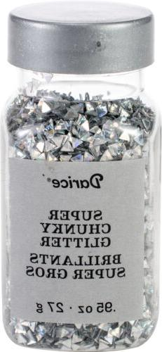 Darice Super Chunky Glitter .95oz-Silver Triangle - 2 Pack