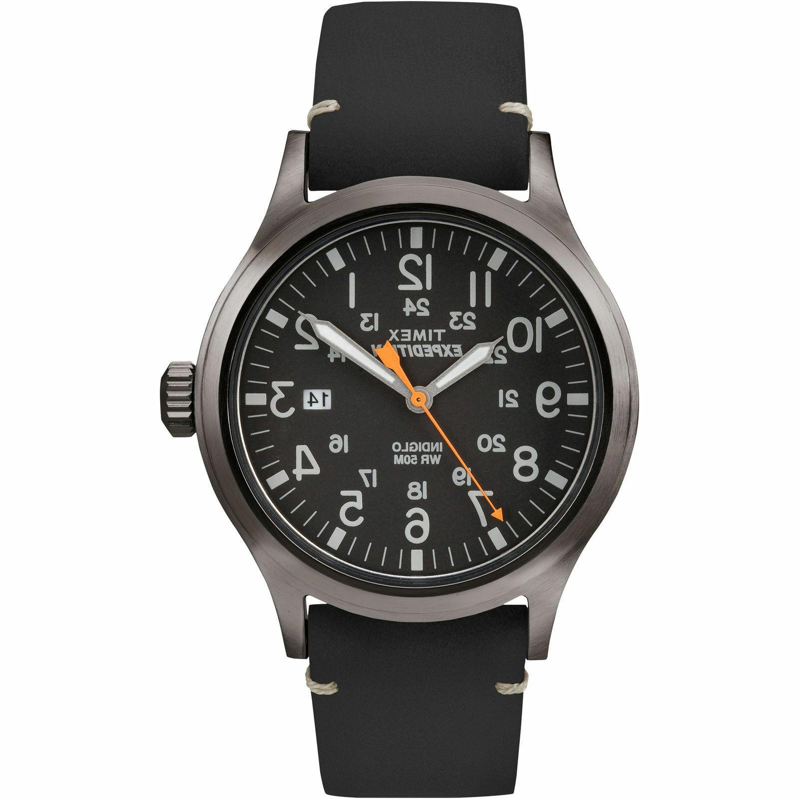 "Timex TW4B01900, Men's ""Expedition"" Leather Indiglo Watch, S"