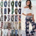 Womens Plus Size Loose Floral Yoga Palazzo Trousers Casual W