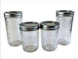 Ball Mason Jelly Jars 2-12 oz., 2-8 oz Quilted Crystal Regul